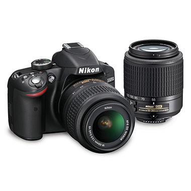 Nikon D3200 Digital SLR Camera Bundle with 18-55mm VR Lens and 55-200mm Lens