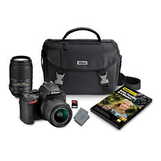 Nikon D5500 24.2MP CMOS Sensor DSLR 2-Lens Bundle, with 18-55mm VR II Lens, 55-200MM VR Lens, Camera Case and 32GB Memory Card