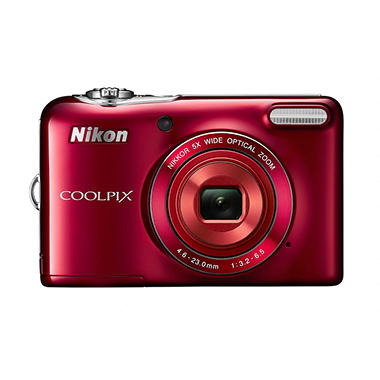 Nikon Coolpix L30 20.1MP Digital Camera with Sensor with 5x Optical Zoom - Red
