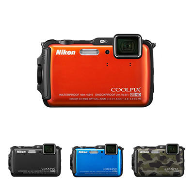 Nikon AW120 16MP CMOS Waterproof Digital Camera with 5x Optical Zoom - Various Colors