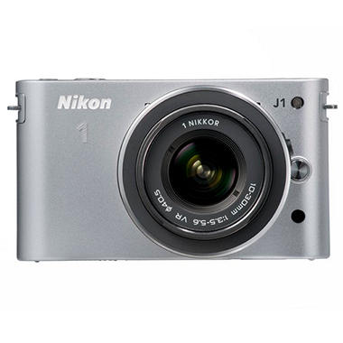 *$499.00 after $250 Instant Savings* Nikon J1 10.1MP Mirrorless Digital Camera with 10-30mm and 30-110mm Lenses - Silver