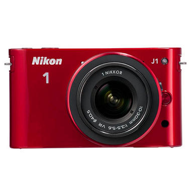 *$499.00 after $250 Instant Savings* Nikon J1 10.1MP Mirrorless Digital Camera with 10-30mm and 30-110mm Lenses - Red
