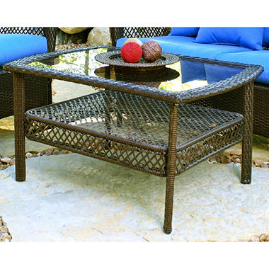 Elegant Wicker Mocha Coffee Table