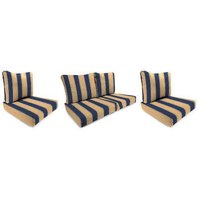 Wicker Chair and Loveseat Cushion - Ada Stripe Marine