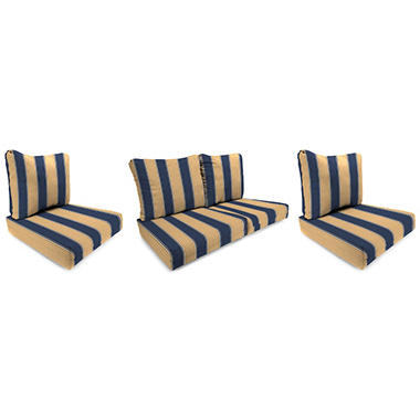 Wicker Chair and Loveseat Cushion - Ada Stripe Marine