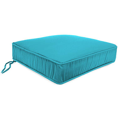 Replacement Deep Seating Boxed Seat Cushion with Welt & Ties