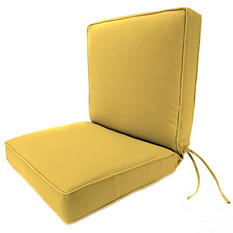 Deep Seating Chair Cushion with Box Seat, Welt and Ties in Premium Sunbrella Fabric