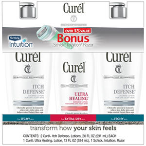 Curél Itch Defense and Ultra Healing Lotion with Bonus Razor (3 pk.)