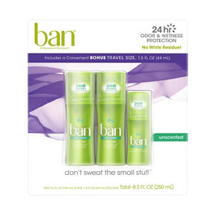 Ban Roll-on Antiperspirant Deodorant, Unscented (3-pack, 5 fl.oz. total)