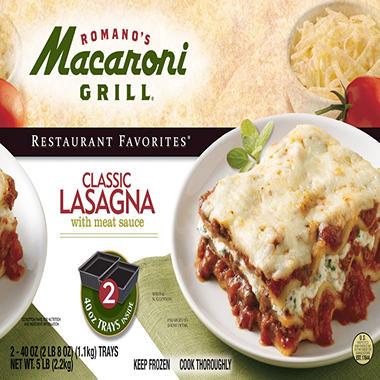 Romano's Macaroni Grill® Lasagna; 2 - 40oz. Trays
