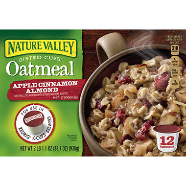 Nature Valley Bistro Cups Oatmeal,  Apple Cinammon  (12 ct.)
