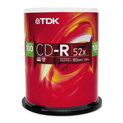 TDK® CD-R Discs,700MB/80min,52x, Spindle,SR - 100 pk.
