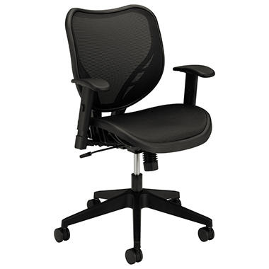 basyx by HON - VL552 Mid- Back Work Chair, Mesh Seat and Back - Black