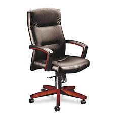 HON - 5000 Series Executive High-Back Swivel/Tilt Chair - Black Vinyl/Mahogany