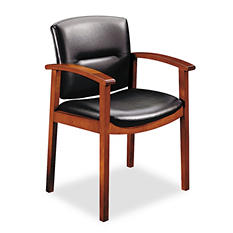 HON - 5000 Series Park Avenue Guest Chair - Black Vinyl/Henna Cherry Finish