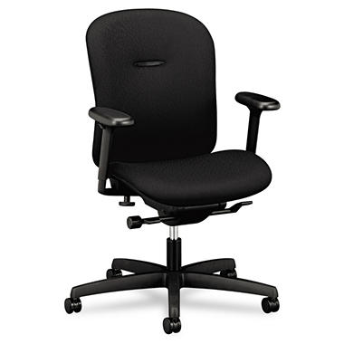 HON - Mirus Series Low-Back Synchro-Tilt Chair - Black Fabric Upholstery