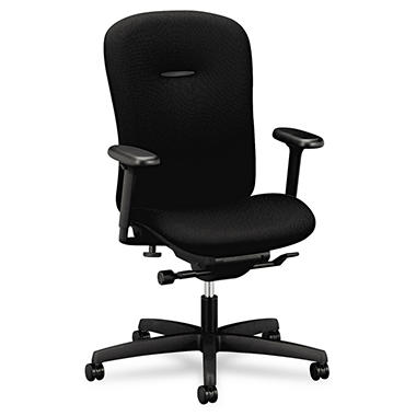 HON - Mirus Series Mid-Back Synchro-Tilt Chair - Black Fabric Upholstery