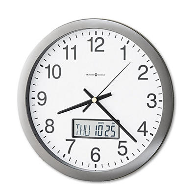 "Howard Miller Chronicle 14"" Wall Clock with LCD Inset, Gray"