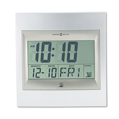 Howard Miller Radio Control TechTime II LCD Wall/Table Alarm Clock, Silver