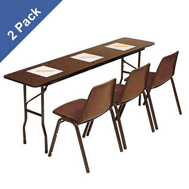 Correll 8' Commercial-Duty Folding Seminar Table, Walnut - 2 pack
