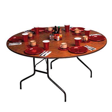 Correll 4' Round Heavy-Duty Folding Table - Walnut - 2 pack