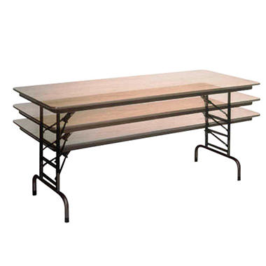 6' Walnut Adjustable Folding Table - 2 pack