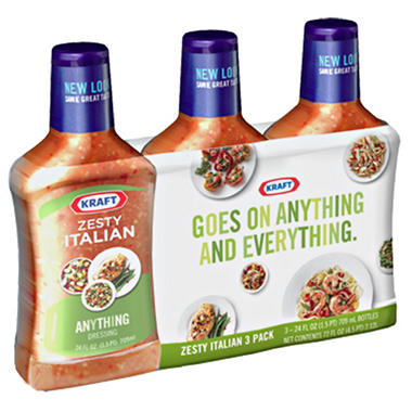 Kraft Zesty Italian Salad Dressing,  3 PK 24 OZ.