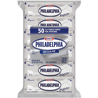 Kraft Philadelphia Regular Cream Cheese Spread - 1 oz. - 50 ct.