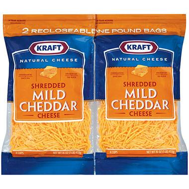 Kraft® Mild Cheddar Shredded Cheese - 16 oz. - 2 ct.