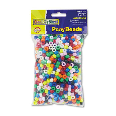 Chenille Kraft� Pony Assortd Color Beads-1,000 pk