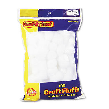 White Craft Fluffs - 100 Pieces per Pack