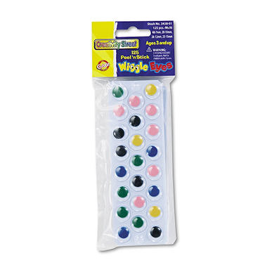 Peel N Stick Wiggle Eyes, Assorted Colors, 125 pk