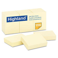 Highland - Self-Stick Pads, 1-1/2 x 2, Yellow, 100 Sheets/Pad -  12 Pads/Pack