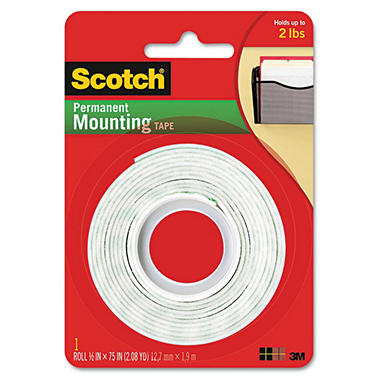 "Scotch - Foam Mounting Double-Sided Tape, 1/2"" Wide x 75"" - 1 Roll"