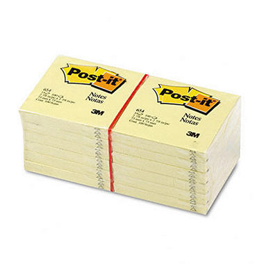 "Post-it Notes - 3"" x 3"", Yellow, 100 Sheets - 12 Pads"