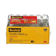 "Scotch Double Sided Tape - 1/2"" x 500"" - 6 Rolls"