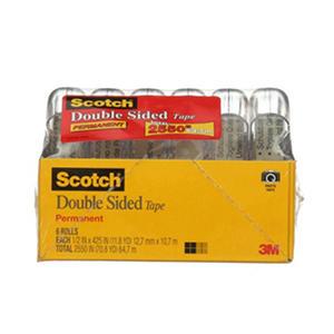 "Scotch Double Sided Tape, 1/2"" x 500"", 6pk."