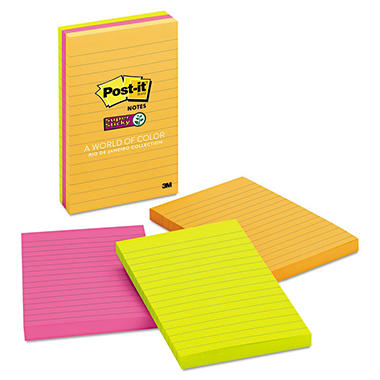 "Post-it - Super Sticky Lined Notes, 4"" x 6"", Ultra, 90 Sheets - 3 Pads"
