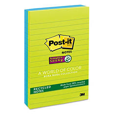 Post-it Notes Super Sticky - Recycled Notes in Bora Bora Colors, 4 x 6, 90/Pad -  3 Pads/Pack