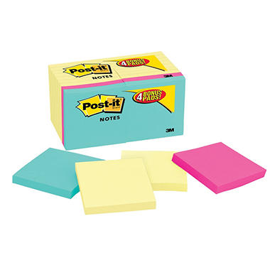 Post-it - Note Bonus Pack Pads - 3 x 3 - Canary Yellow/Assorted - 100-Sheet 18/Pack