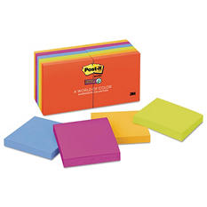 Post-it Notes Super Sticky Notes, 3 x 3, 90 Sheet Pad, 12 Pads, Marrakesh Colors