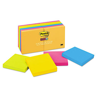 3M Super Sticky Notes, 3 x 3, Five Jewel Pop Colors, 12 90-Sheet Pads per Pack