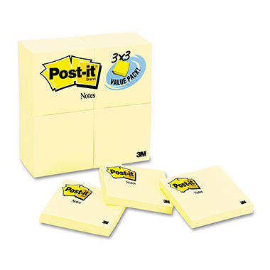 "3M Post-it Notes, 3"" x 3"" Yellow, 24 Pack"
