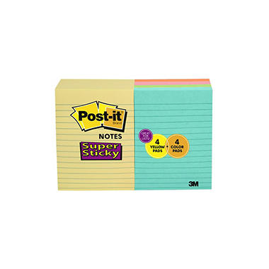 "Post-it Super Sticky Notes - 4"" x 6"" - 100 sheets/pad - 8 pads"
