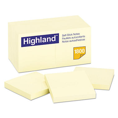 "Highland - Self-Stick Notes, 3"" x 3"", Yellow - 100 Sheet/Pad - 18 ct."