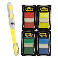 "Post-it - Flags Value Pack - Assorted Colors - 200 1"" Flags - Highlighter/Pen w/50 flags"