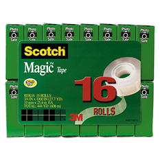 "Scotch - Magic Tape Value Pack, 3/4"" x 1000"", 1"" Core, Clear -  16/Pack"