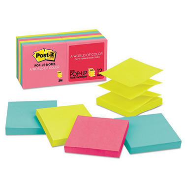 3M Post-it Pop-Up Neon Colors Refill Notes, 12 Pack