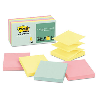 Post-it - Pop-Up Note Refills - 3 x 3 - Five Pastel Colors - 12 100-Sheet Pads/Pack