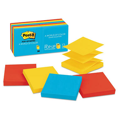 Post-it - Pop-Up Note Refills - 3 x 3 - Five Ultra Colors - 12 100-Sheet Pads/Pack